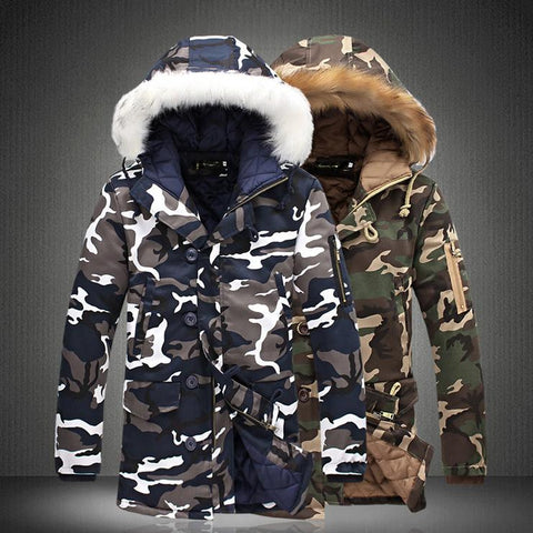 Camouflage Warm Hooded Fur Collar Down Jacket