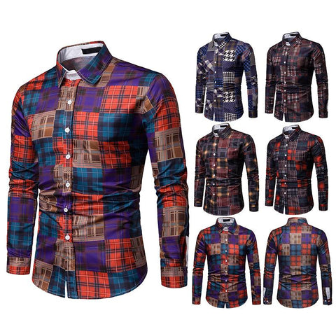 Gentleman Contrast Plaid Long Sleeve Shirt