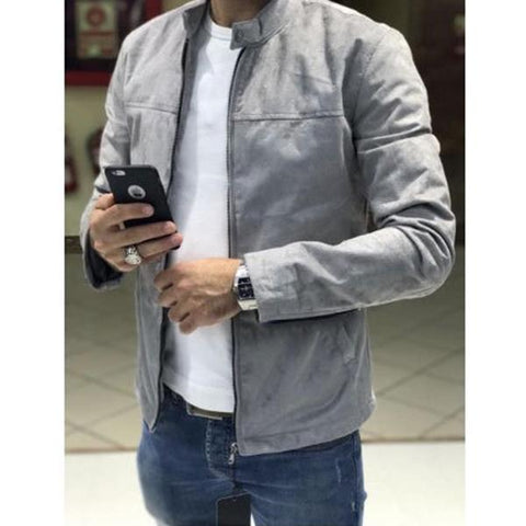 90826a6d864c Men s Solid Suede Fabric Stand Collar Jacket – astrotrex