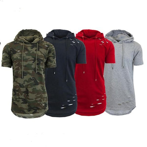 Street Hip Hop Ripped Hooded Short-Sleeved T-Shirt
