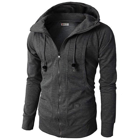 Men's Solid Color Fleece Hooded Jacket