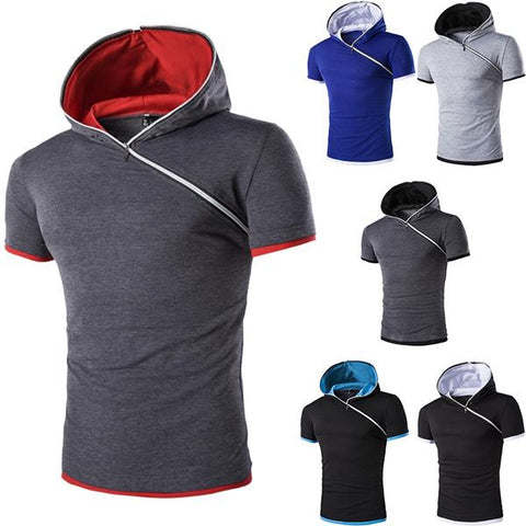 Fashion Diagonal Zipper Hooded Short-Sleeved T-Shirt