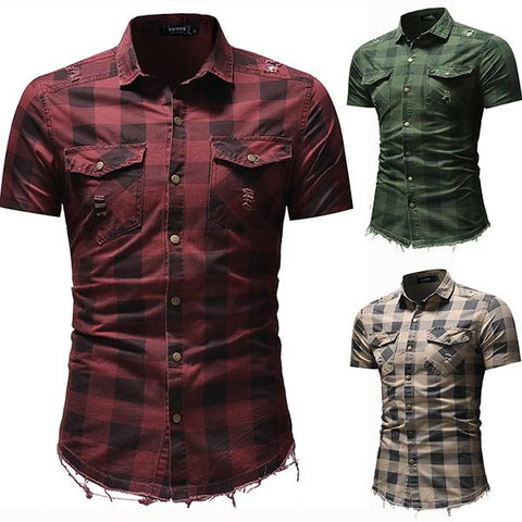 Street Plaid Destruction Short Sleeve Denim Shirt