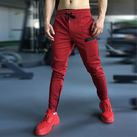 Men's Fashion Fitness Solid Color Slim Zipper Pants
