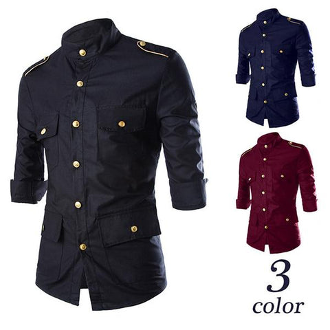 Men's Fashion Solid Color Slim Aristocratic Badge Shirt