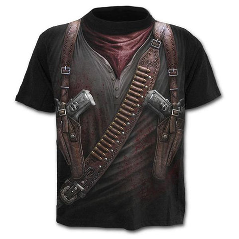 Men's Fashion 3D Printed Pistol Short-Sleeved T-Shirt