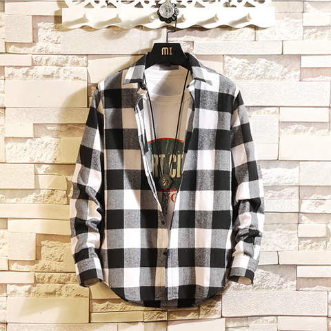 Street Men's Plaid Loose Casual Shirt