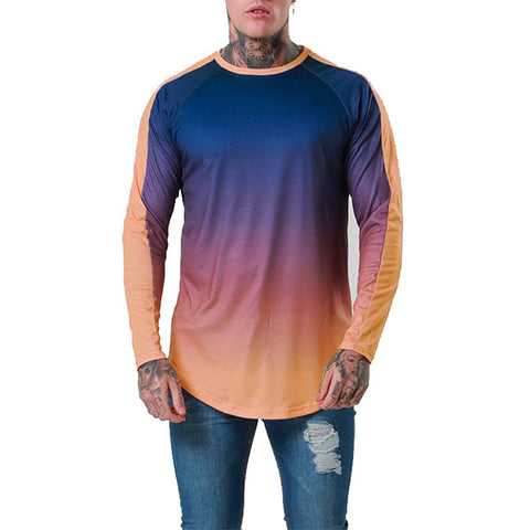 Fashion Men's Gradient Color Long-Sleeved T-Shirt