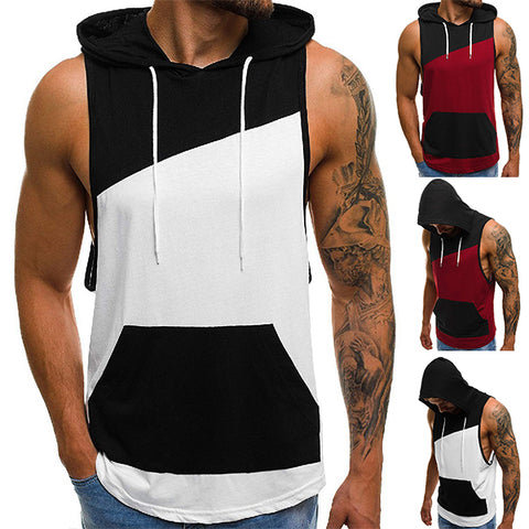 Men's Fashion Colorblock Hooded Loose Tank