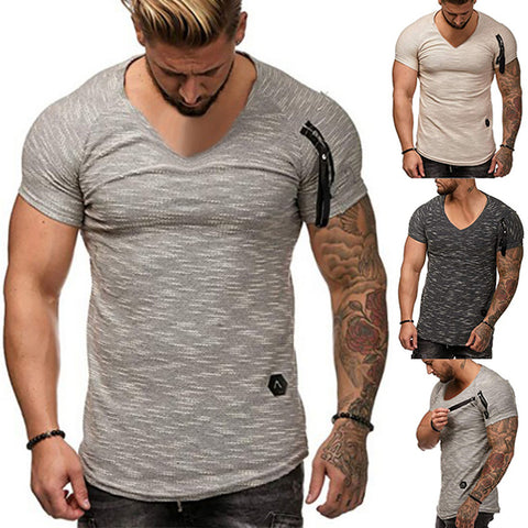 Men's Minimalist Zip V-Neck T-Shirt