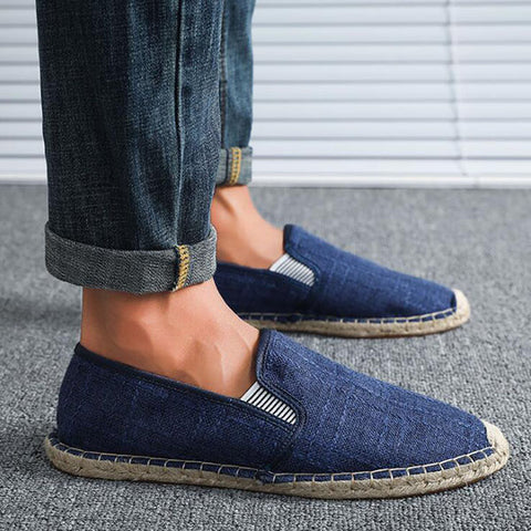 Men's Casual Shoes Flat Canvas Shoes Straw Breathable Linen Fisherman Shoes