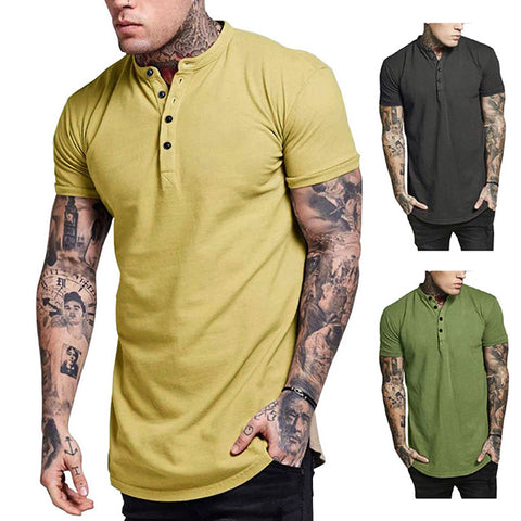 Men's Fashion Solid Color Button Round Neck T-Shirt