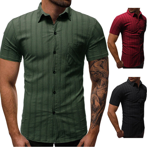 Men's Fashion Solid Color Dark Striped Shirt