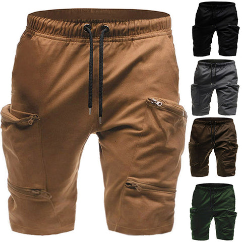 Men's Fashion Multi-Pocket Zipper Loose Shorts