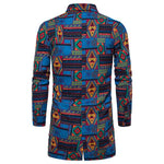 Men's Casual Lapel Single-Breasted Printed Long Shirt