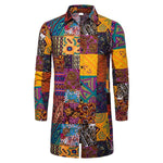 National Style Men's Lapel Single Row Buckle Printed Long Shirt