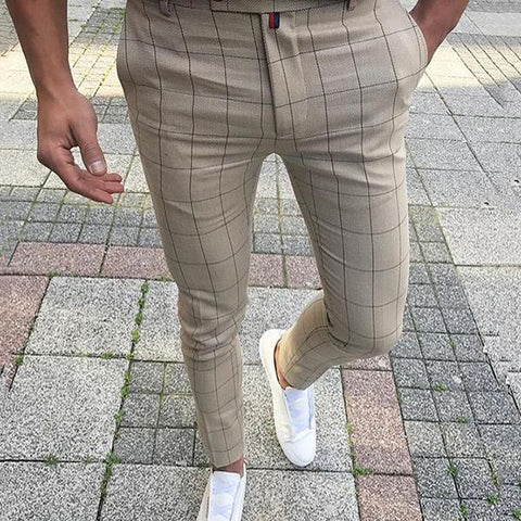 Men's Middle Waist Plaid Pencil Pants