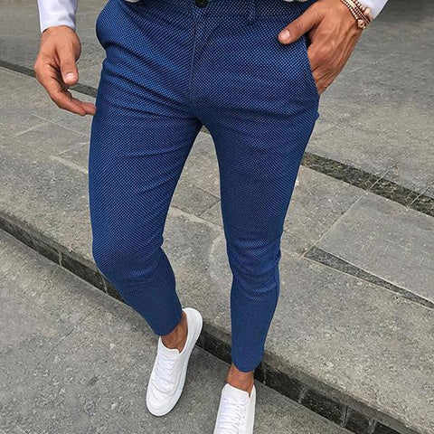 Men's Middle Waist Solid Color Pencil Pants