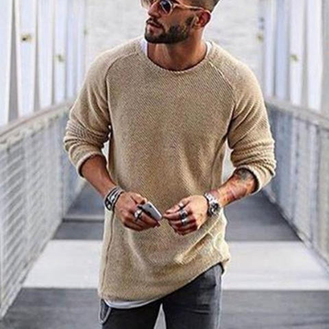 Casual Round Collar And Long Sleeves Knitted Sweater