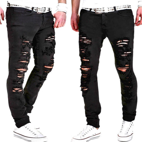 Shredded personality trend fashion casual pants