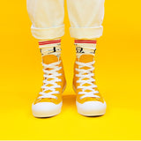 Classic high help neutral yellow pure color hand-painted casual canvas shoes