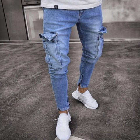 Slim-Fit Zippered Men's Jeans