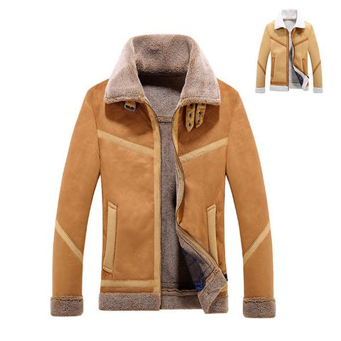 Locomotive High Quality Lamb Fur Collar Leather Jacket
