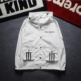 Fashion Mens Hooded Light Jacket Black White