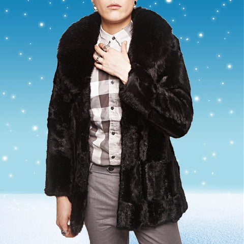 Men's Faux Mink Fur   Overcoat