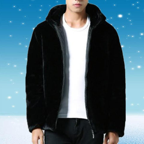 Mink Hair Men's Hooded Coat