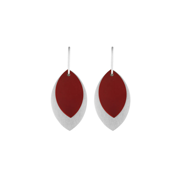 Large Burgundy Anodised Aluminium & Sterling Silver Leaf Earrings