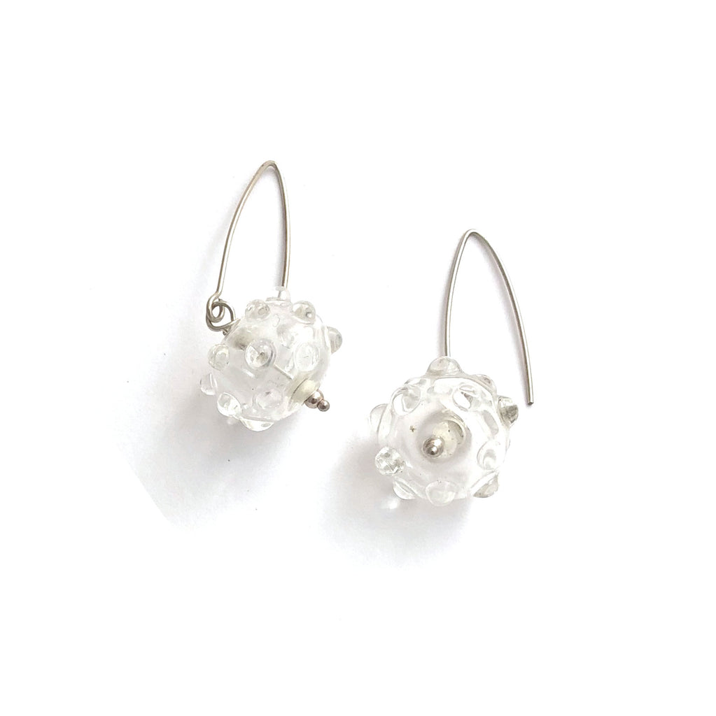 One off sterling and clear glass earrings
