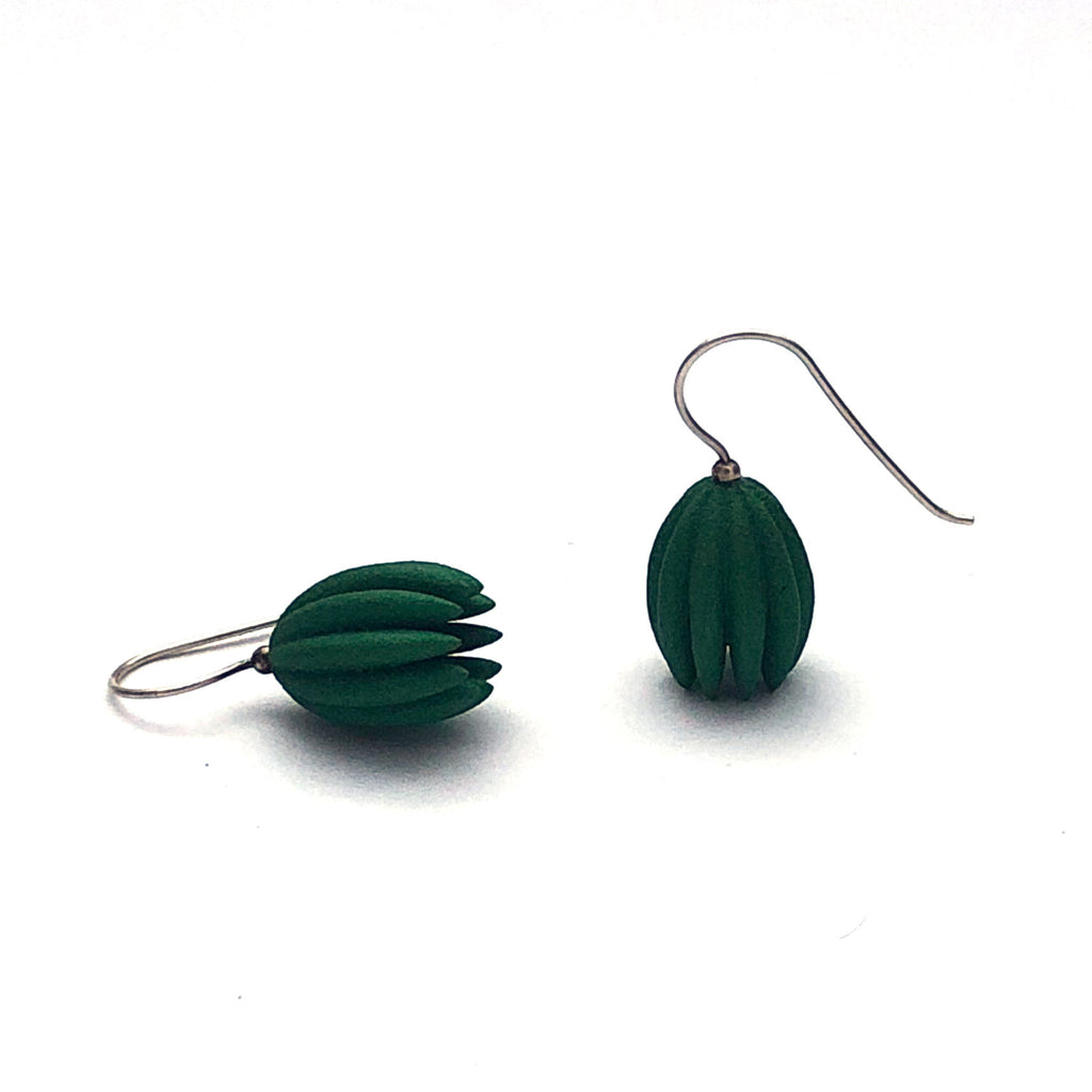 Green Handpainted SLS Nylon Bulb Earrings