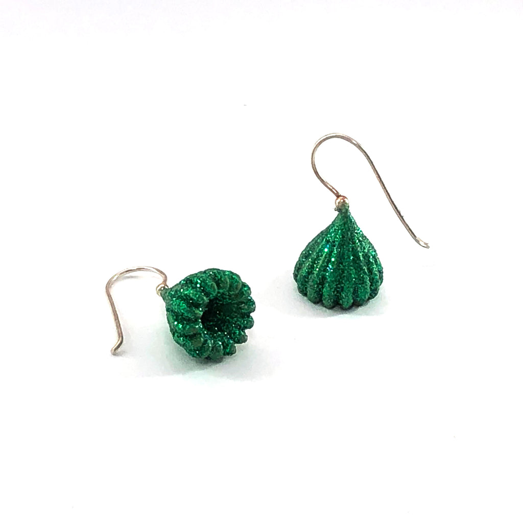 Glittered Green Small Pod Drop Earrings