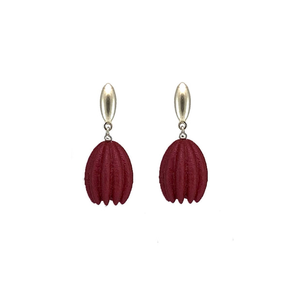 Dark Red Hula Earrings