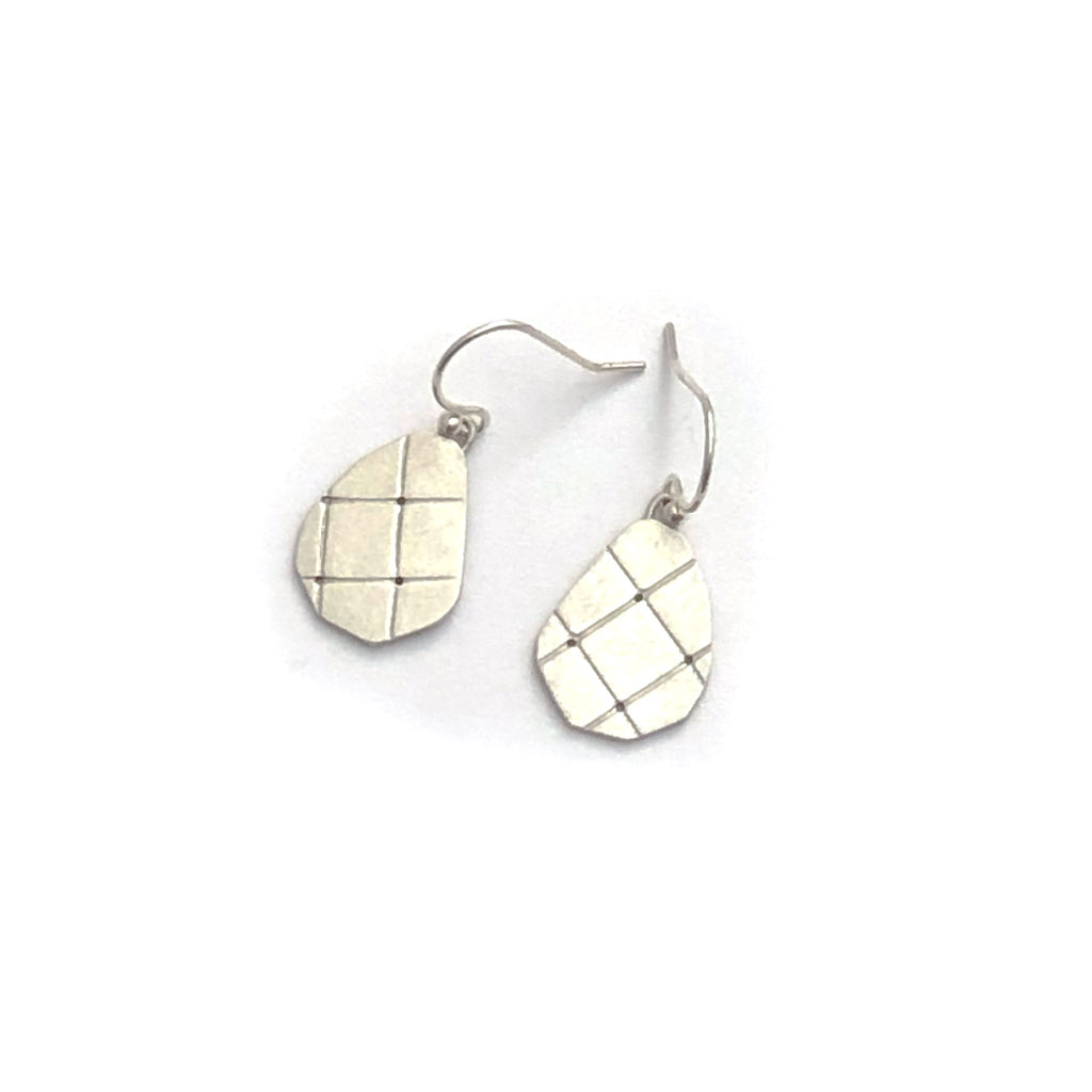 Sterling silver grid earrings
