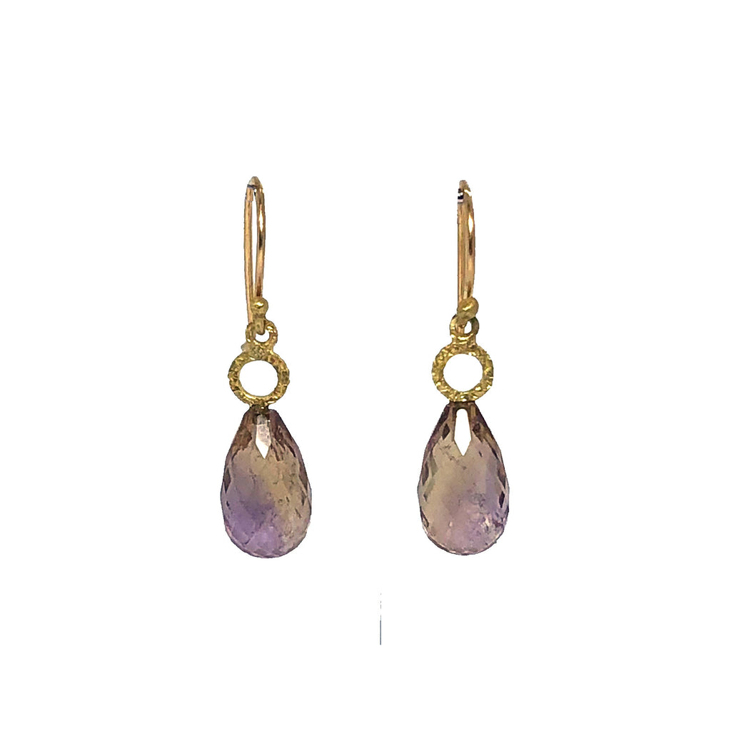 18ct gold and ametrine earrings