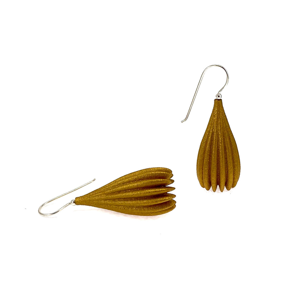 Metallic Gold Long Pod Earrings