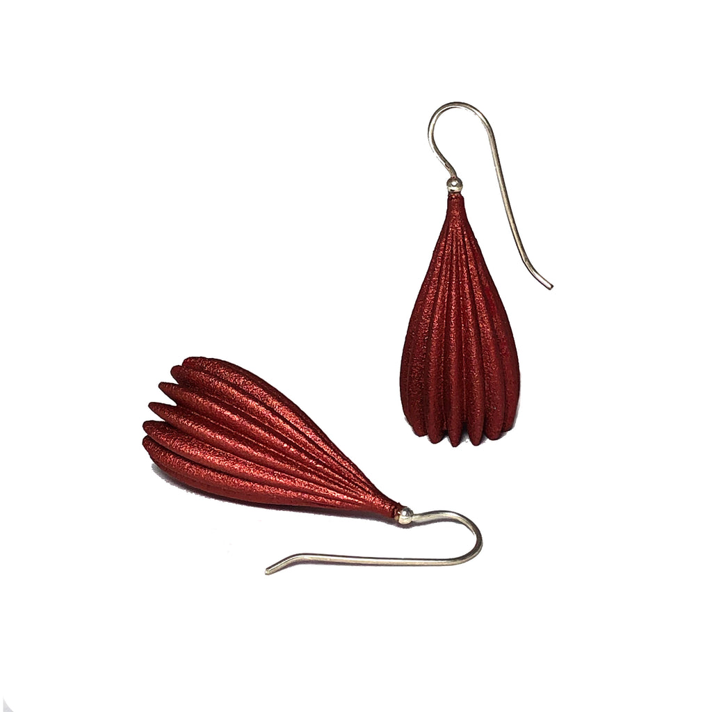 Rusty Red Large Pod Drop Earrings