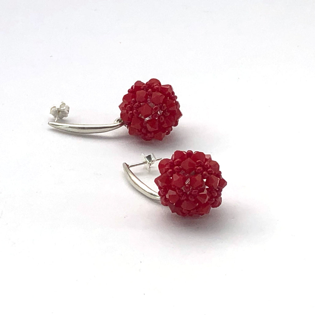 Red Swarovski crystal and sterling silver drop earrings