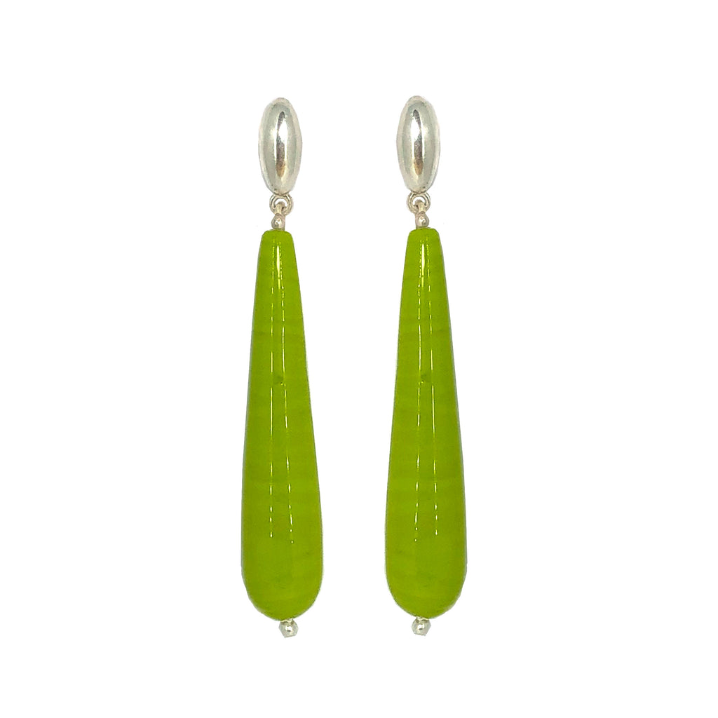 Handmade Venetian lime glass and sterling silver earrings