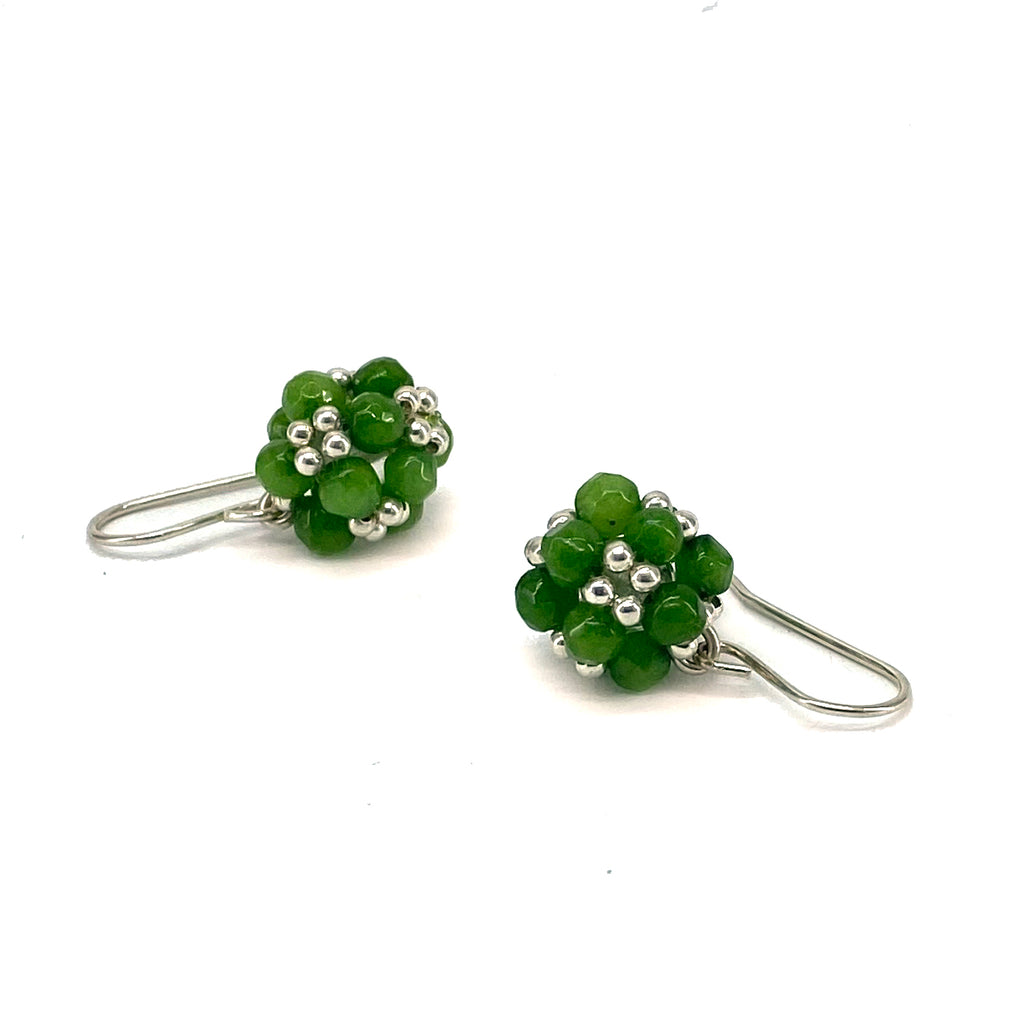 Apple green jade and sterling silver earrings