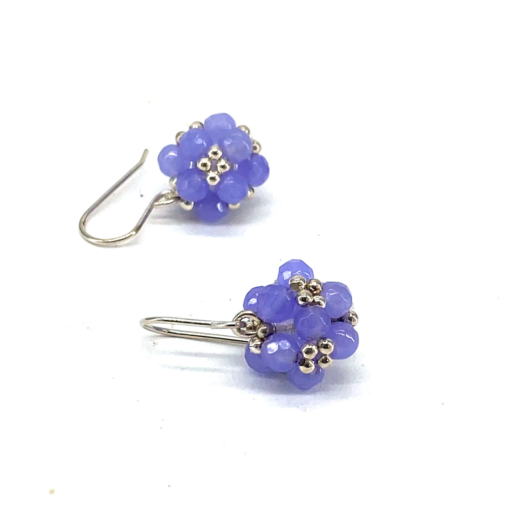 Lilac jade and sterling silver earrings