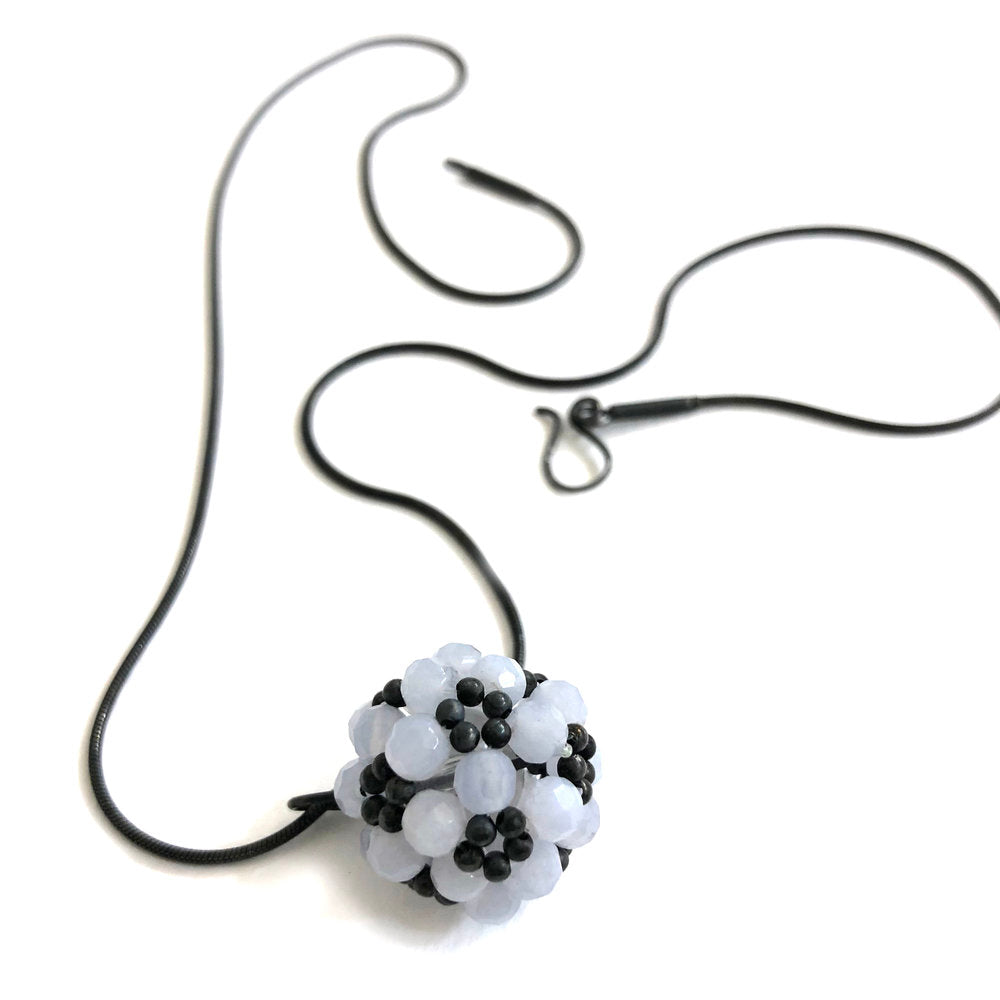 Jenny Fahey lace agate oxidised beaded ball necklace.jpg