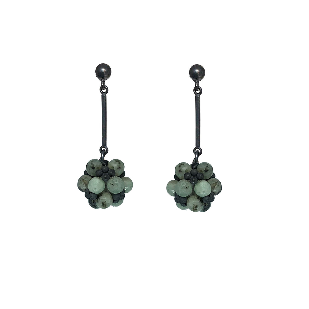 Semi-precious stone and blackened sterling silver earrings - various