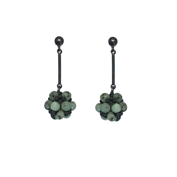 Kiwi jasper and oxidised sterling silver earrings