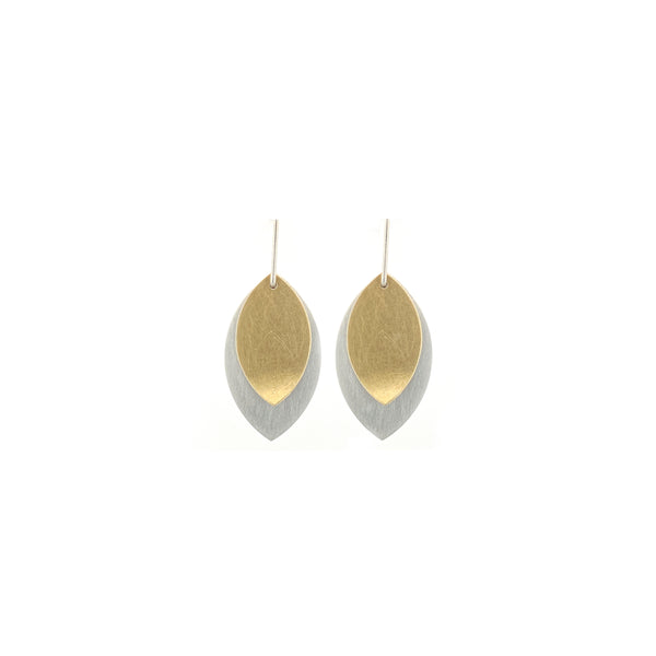 Small Sterling Silver and Gold Leaf Earrings
