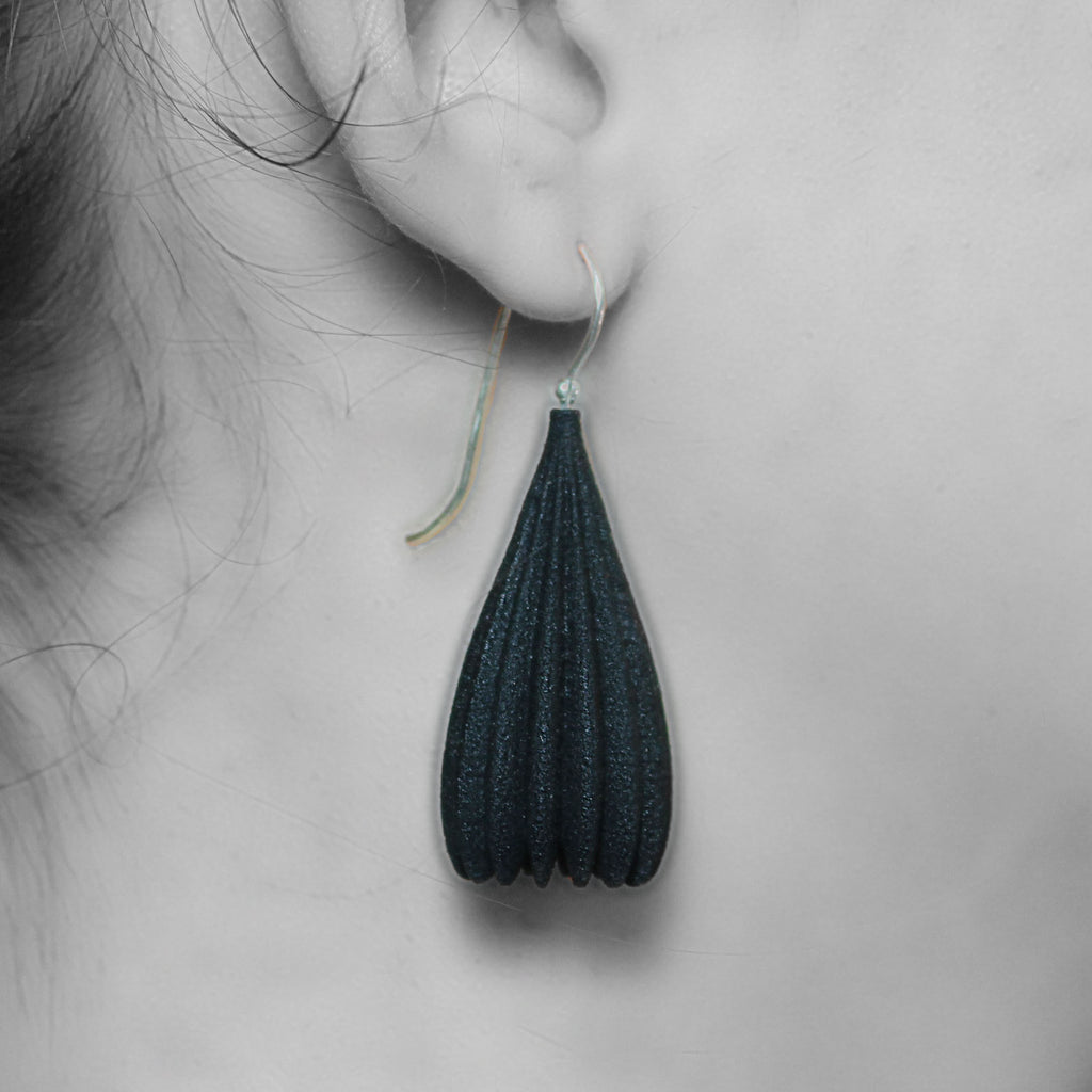 Dark Metallic Blue Large Pod Drop Earrings
