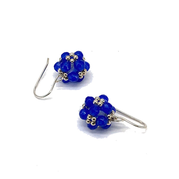 Electric blue jade and sterling silver earrings