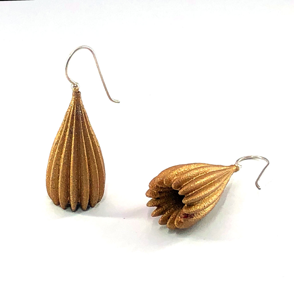 Sample Gold long pod earrings